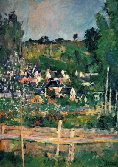 Cezanne, Paul: A View of Auvers-sur-Oise, The Fence. Landscape Fine Art Print/Poster. Sizes: A4/A3/A2/A1 (001018)